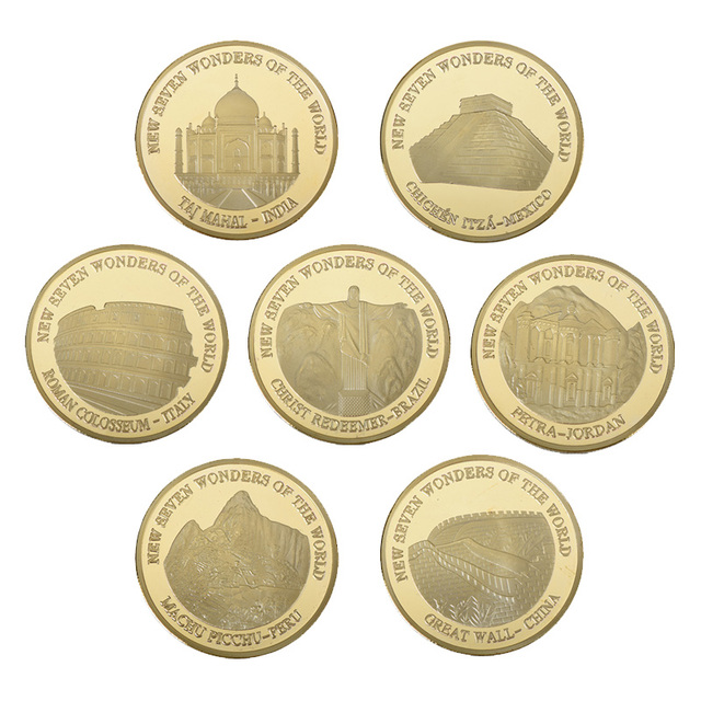 WR Creative Gifts New Seven Wonders of the Worlds Golden Coin ...