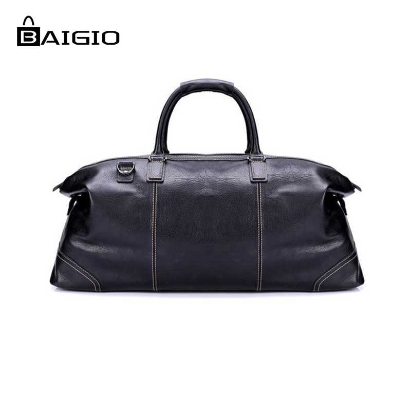 Baigio font b Men s b font Travel font b Bags b font Leather Weekend Duffle