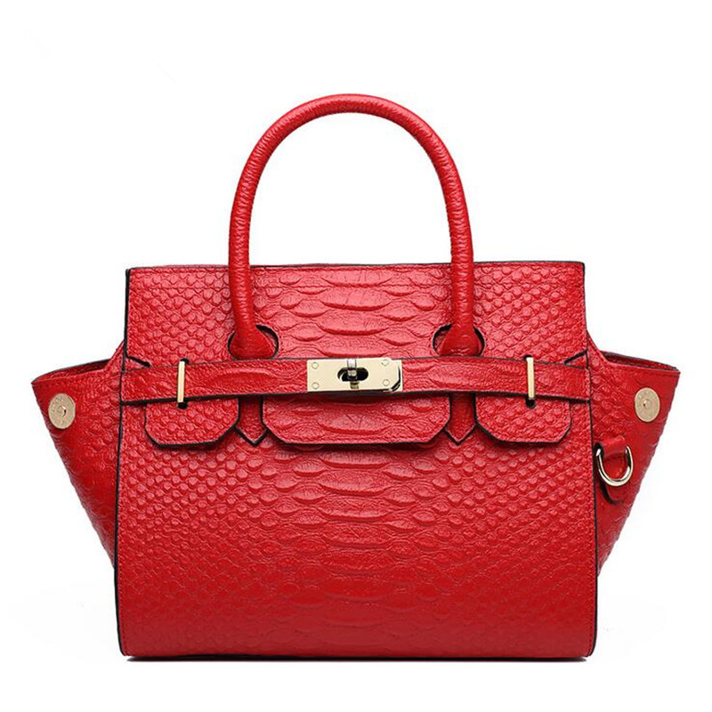 Фотография Nice Woman Leather Bag Luxury Elegant Genuine Leather Handbags Shoulder Messenger Bags Lady Serpentine Pattern Portable Bags