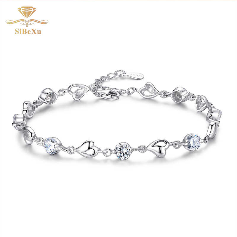 Women Sliver Bracelet Heart Crystal Diomand With Swarovski Element Bride Jewelry Charm Cubic Zircon Clear CZ Bangles Gift