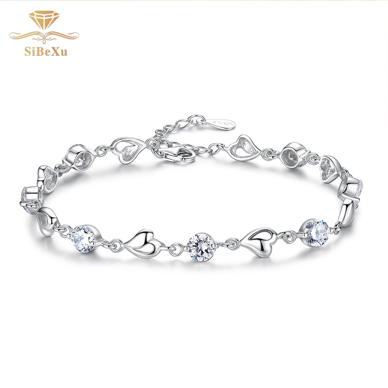 Women Sliver Bracelet Heart Crystal Diomand With S