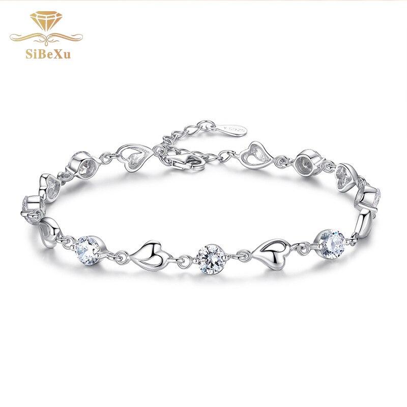 Women Sliver Bracelet Heart Crystal Diomand With Swarovski Element Bride Jewelry Charm Cubic Zircon Clear CZ Bangles Gift