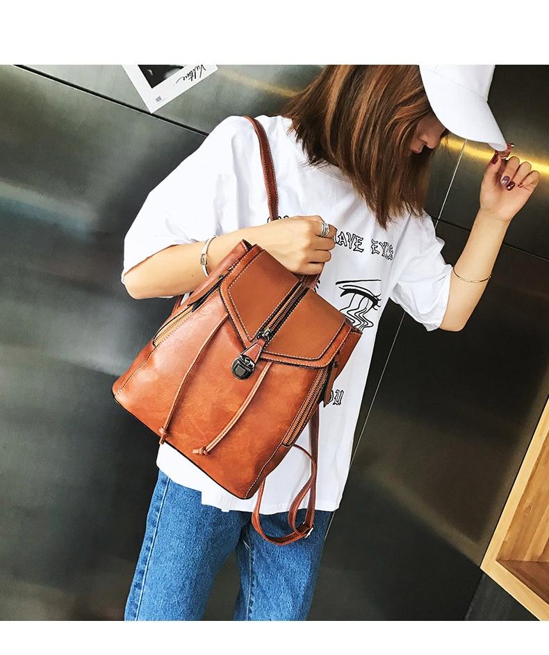 HTB1w9 UbUGF3KVjSZFoq6zmpFXa9 Vintage Matte Leather Women Backpacks High Quality Multifunctional Shoulder Bag Female Girls Backpack Retro Schoolbag XA533H
