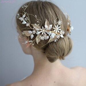 Image 2 - Jonnafe Hochzeit Haar Crown Clip Gold Leaf Floral Braut Haar Schmuck Handgemachte Vintage Frauen Prom Kopfstück Zubehör