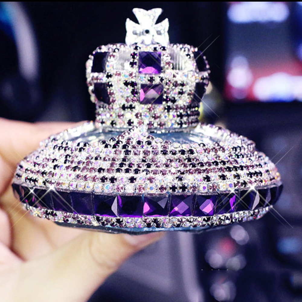 Car Ornament Fashion Luxury Crystal Diamond Crown Auto Seat Perfume Fragrance Air Freshener Container Bottle Interior Decoration car outlet perfume air freshener with thermometer lime