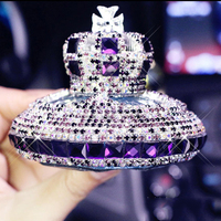 Fashion Luxury Crystal Diamond Crown Car Seat Perfume Fragrance Air Freshener Container Bottle Interior Decoration Car