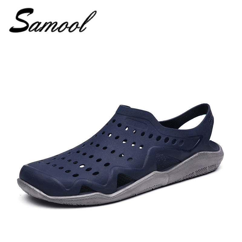2018 Men Sandals Summer Casual Shoes Hollow Non-Slip Beach Slippers Flats Breathable Men Shoes Light Male Footwear Flip Flop R4