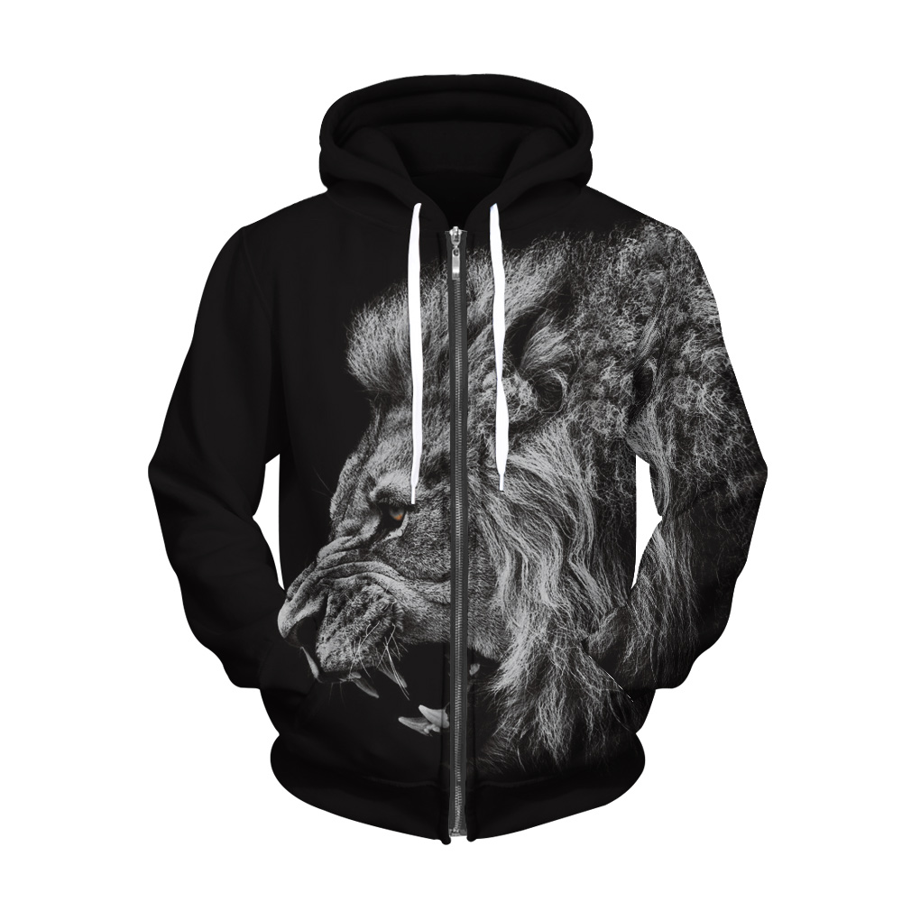 Large Size Lion 3D Digital Drinting Warm Sweatshirt For Men/Women Fashion Brand Wild Loose Long-Sleeved Pullovers Hoodies