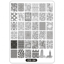 5 Styles XL Big Stamping Template (10*14cm) Geometric Bamboo Tower Image Stamp Print Plates For Polish OS(1-5)
