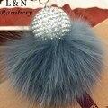 Pom Pom Rainbery Fur llavero Moda 8 cm Bola de Pelo Perla colgante Llavero de Coches de Múltiples colores Las Mujeres Bolsa Llavero con Bola de Cristal