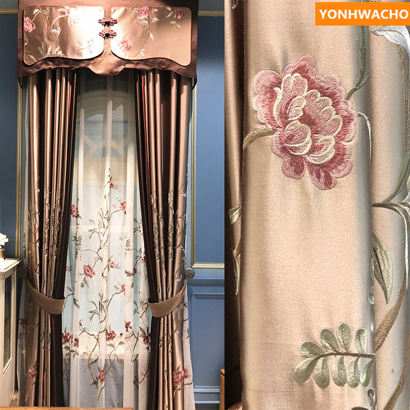 White European luxurious velvet Bronzing cloth blackout curtain tulle sheer E587