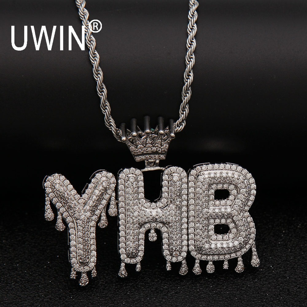 UIWN Name Necklace Men Customize Drip Bubble Intial Letter Pendant Silver Rose gold Commission Gift Jewelry Cuban Rope Chain yoursfs 18k rose white gold plated letter best mum heart necklace chain best mother s day gift