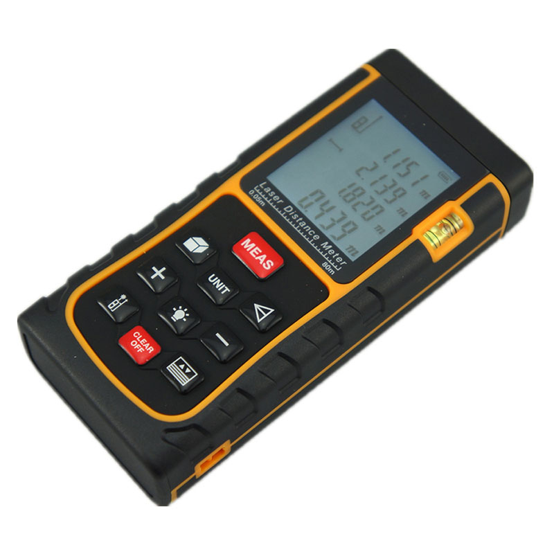 SW-E80 Free Shipping LCD Display Laser Distance Meter Digital Range Finder Laser Tape Measurer