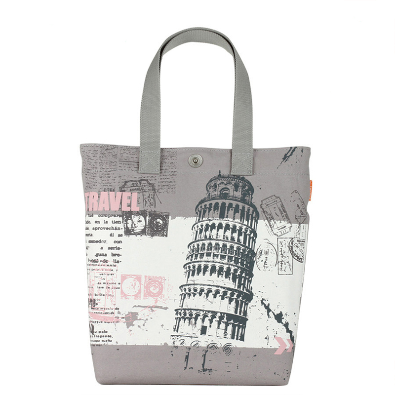 Preppy Style Tote Bag Ladies Retro Printing Canvas Hand Bag Durable Simple Designer Hand Bag Women