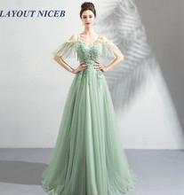 2019 New Prom Dress Sweetheart Neck Sweep Train Appliques Beading Spaghetti Strap Off Shoulder Lace-up Tulle Evening Dress