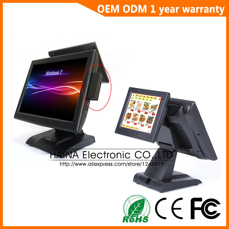 Image 4 - 15 inch All In One Touch Screen POS System Dual Screen POS Terminal-in Desktops from Computer & Office