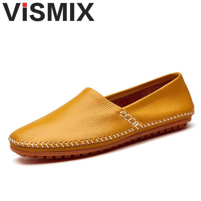 VISMIX Brand New Shoes Genuine leather Mens Peas Shoes Fashion Handmade Moccasins Leather Men Flats Shoes Men's Plus Size 46 47 цена