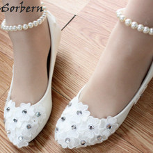 Sorbern White Elastic Beading Straps Bridal Shoes High Heel Pumps Small  Flowers Wedding Pumps Bridesmaid Girls 308df2476455