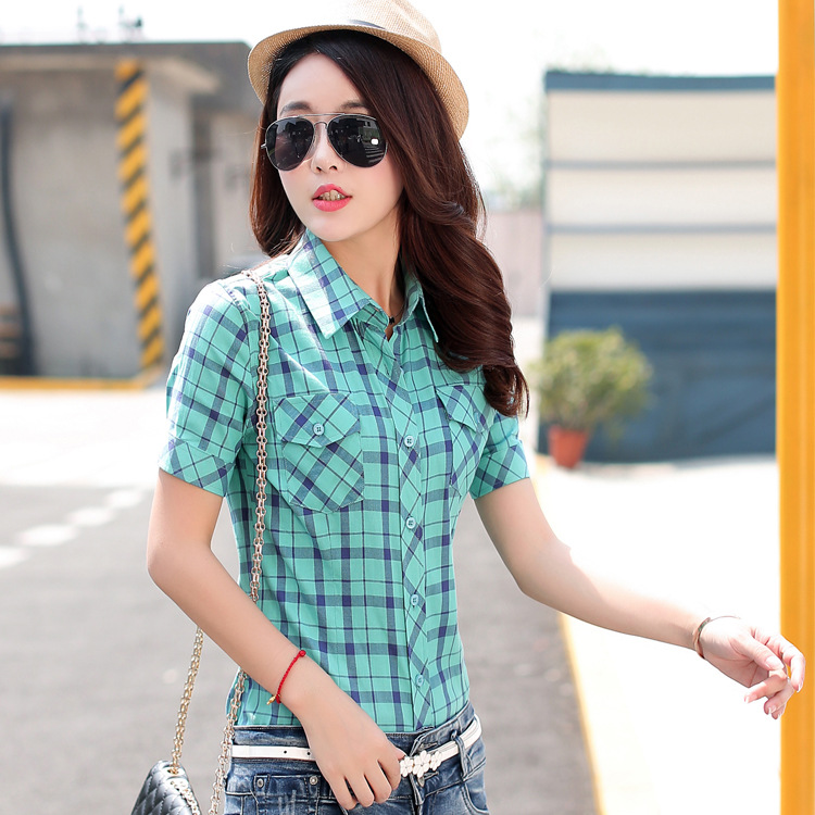 US $13 71 8% OFF|Summer 2019 plaid shirt female short sleeve checkered  shirt Tops Women's cotton cardigan shirt female in a cage-in Blouses &  Shirts