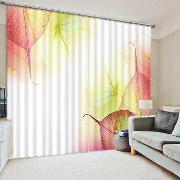 Cortinas 3D de hoja colorida decorativas para la ventana de la habitación de cama gruesa cortina suave sombra de fondo para Hotel