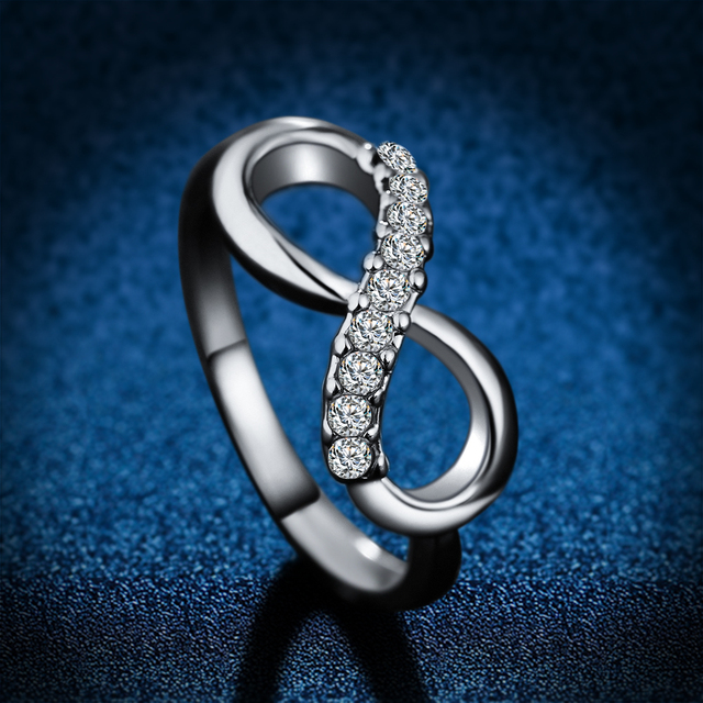 Infinity Symbol Zircon Crystal Engagement Ring