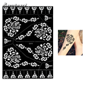 1 Piece Large Henna Tattoo Stencil Hollow Black Flower Stencil Airbrush Painting for Female Body Art Tattoo Stencil Indian S303