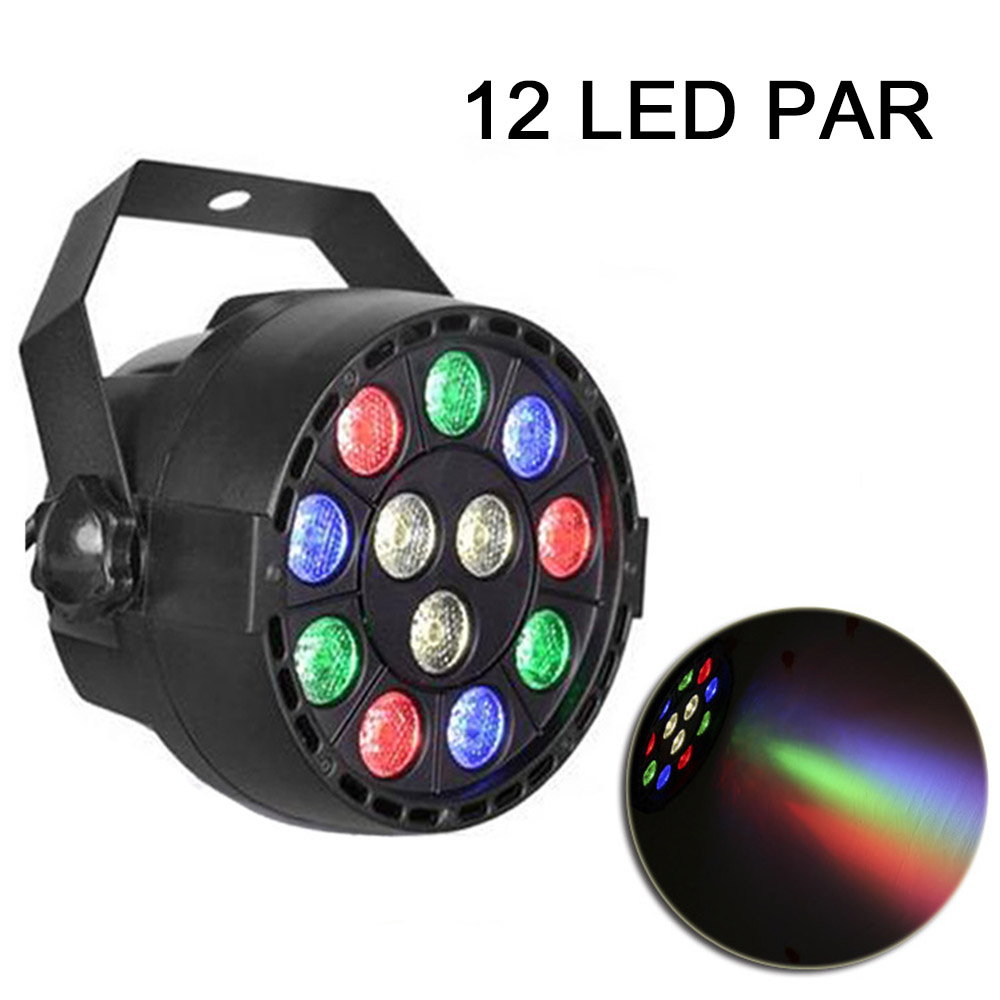 12 LEDs Voice-activated 12x3w RGBW DMX512 Control for Club Disco DJ KTV Ball Stage Light Lumiere Christmas Projector