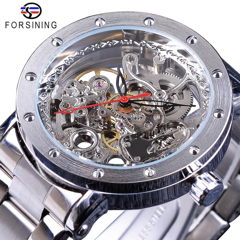 Часы наручные Forsining Мужские автоматические, серебристые, со скелетом, с ремешком из нержавеющей стали, прозрачные, черные, красные