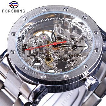 Forsining Silver Skeleton Wristwatches Black Red Pointer Stainless Steel Belt Automatic Watches for Men Transparent Watch