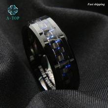Мужские украшения вольфрама кольцо с углеродного волокна 8 мм черный и синий обручальное кольцо Бесплатная доставка