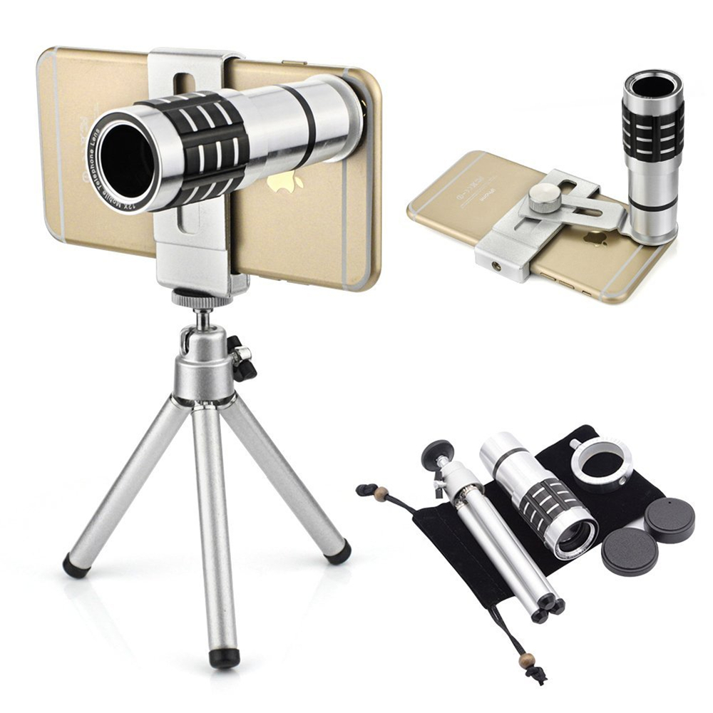Universal Clip 12X Zoom Optical Lens Mobile Phone Telescope Clip Lens for iPhone Samsung HTC Smart