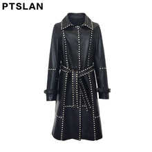 Women autumn winter clothing fashion casual Outerwear high end long term long sleeved genuine leather windbreaker