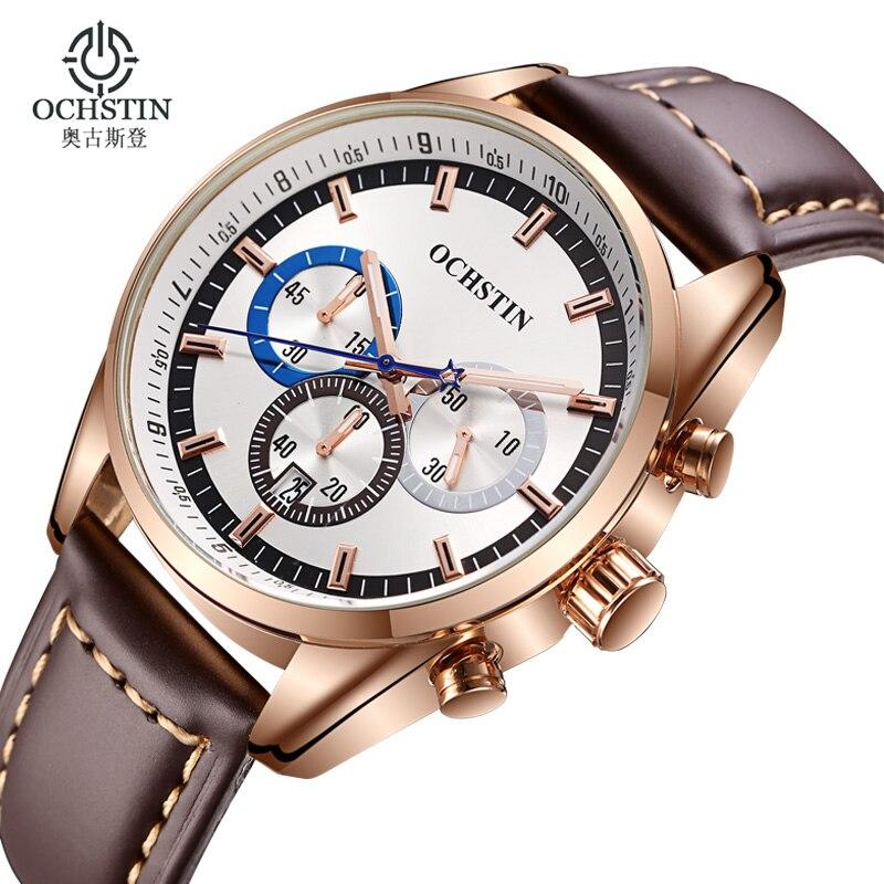 Модные Для мужчин часы Элитный бренд Водонепроницаемый Спорт Кварцевые часы Для мужчин наручные часы кожаный ремешок Бизнес Для мужчин час...