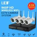 LEF 4CH NVR WIFI CCTV Sistema 4 UNIDS 960 P HD Cámara CCTV Kit de Seguridad Inalámbrica Al Aire Libre ONVIF P2P de Vídeo Sistema de vigilancia