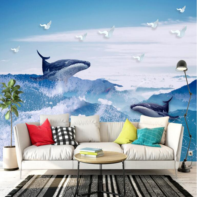 Photo Wall Mural Custom 3d Wall Panel Dolphin Blue Sky White Clouds Wall Paper Bedroom TV Background Living Room Sofa Wall Study customize leaves blue sky and white clouds 3d ceiling murals wallpaper living room bedroom