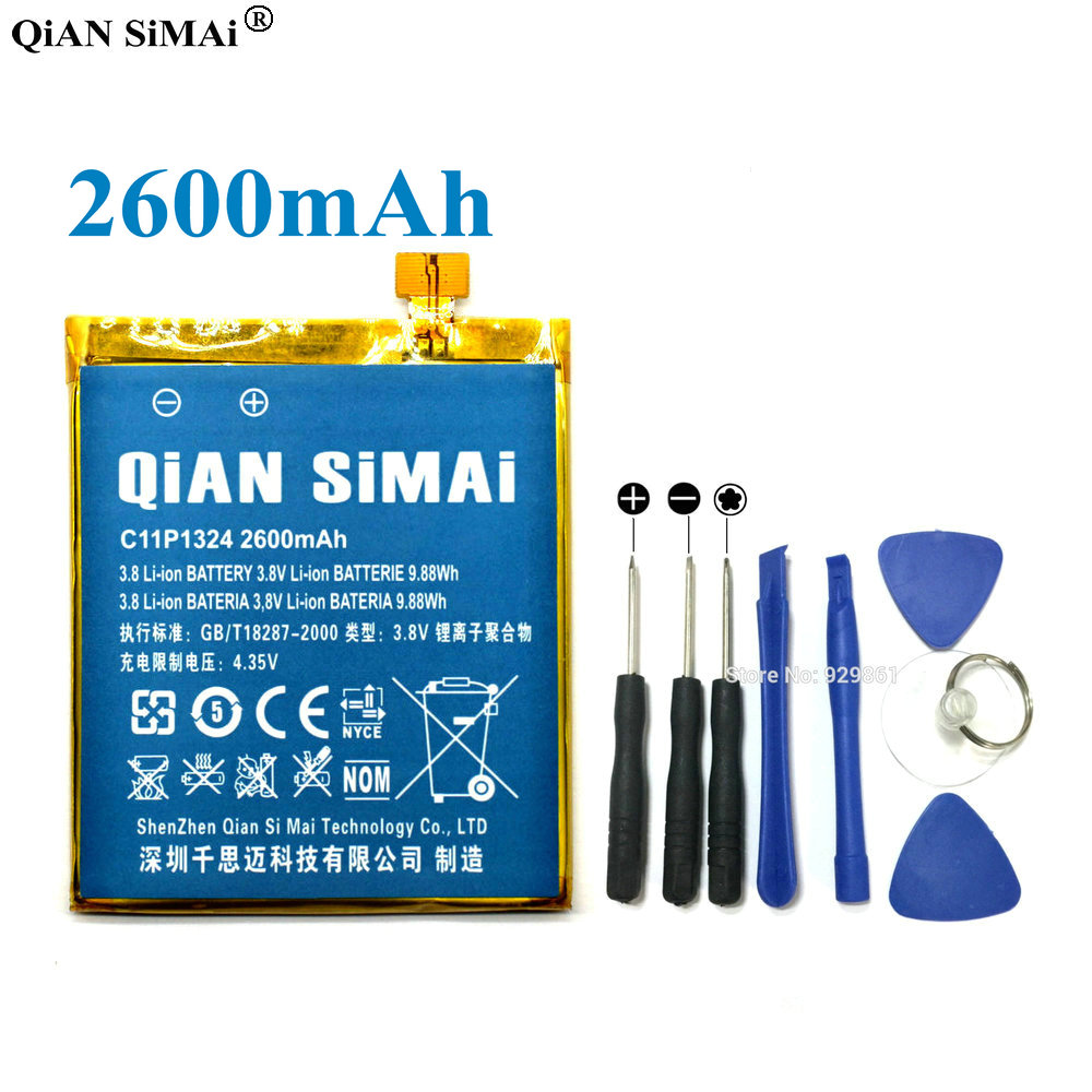 QiAN SiMAi High Quality C11P1324 2600mAh Battery & Screwdriver Tools For <font><b>ASUS</b></font> <font><b>ZenFone</b></font> <font><b>5</b></font> A500G Z5 A500 <font><b>A500CG</b></font> <font><b>A501CG</b></font> A500KL image
