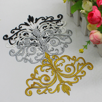Iron On Embroidered Budges Patches 3D Flower Appliques Gold Costumes Trims Trophy Vintage Venise Trims 16cm*12cm image