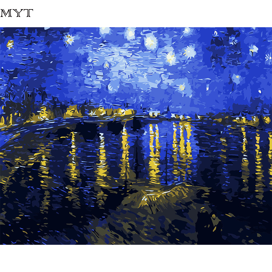 Frameless van gogh starry sky digital oil painting for Decorative mural painting