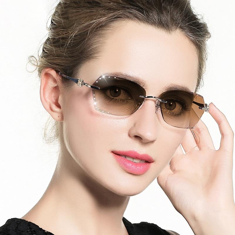 Strass Objektiv Braun Gradienten grau Diamant Für Rot Frau Frauen Sonnenbrille Trimmen brown Randlose Damen Cubojue Titan Lila qgA4tt