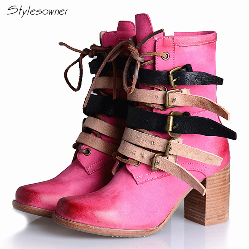 Stylesowner Natural Genuine Leather Women Fashion Mid-Boots Winter British Styles Buckle Leather Boots High Thick Heels Boots 2018 fashion genuine leather metal buckle mixed colors thick heels superstar winter boots round toe women mid calf boots l99