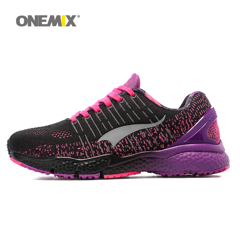 купить Onemix women's running shoes breathable sports sneakers vamp outdoor jogging shoes light female walking sneakers in blue по цене 2022.93 рублей