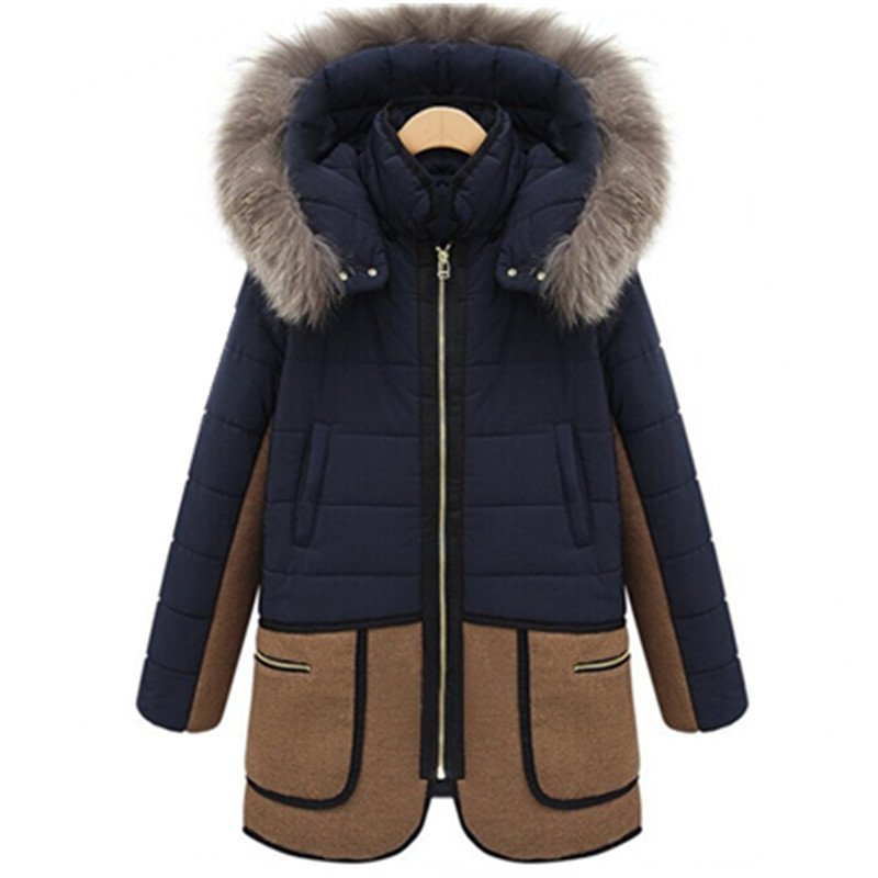 2017  Winter New Slim Large Size Women's Hooded Jacket Women Long Thick Fur Collar Padded Cotton Coat  Warm Outwear JY-1051 women thick winter large size long section padded hooded outerwear new fashion fur collar slim padded cotton warm coat jacket