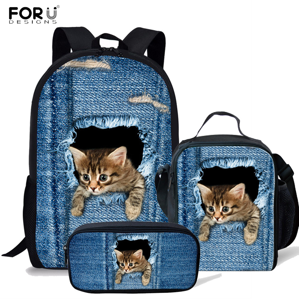 FORUDESIGNS Classic Demin Cat Printing School Bags for Girls Boy Primary Children Orthopedic Backpack 3pcs set