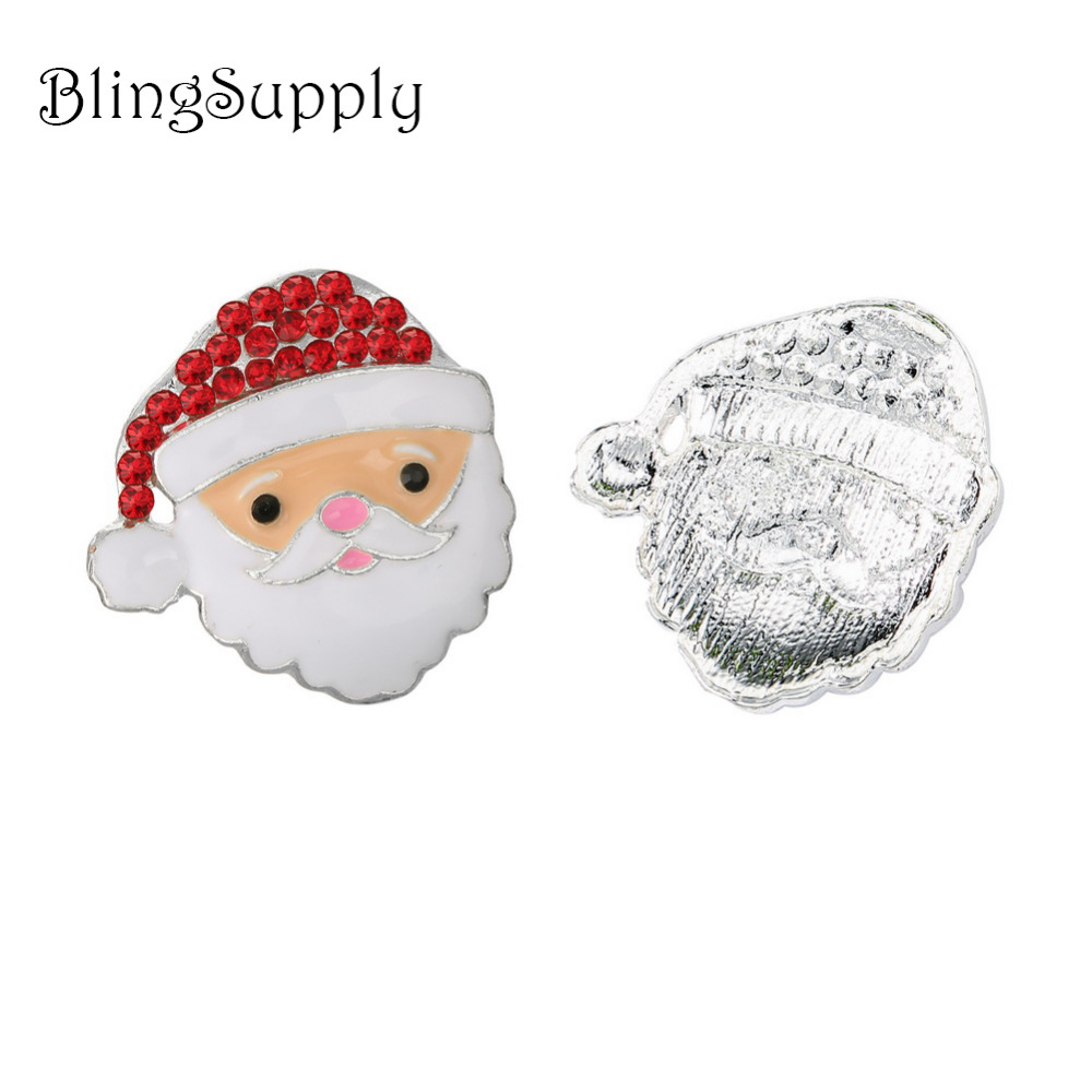 Free shipping 100PCS 25mm flatback Christmas santa rhinestone button BTN 5653