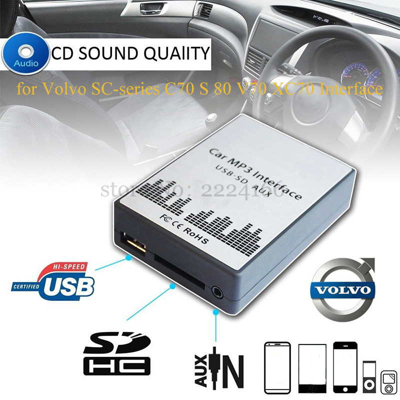 Lonleap New USB SD AUX Car MP3 Adapter CD Changer for Volvo SC-series C70 S80 Interface Easy Installation Charger Car Parts