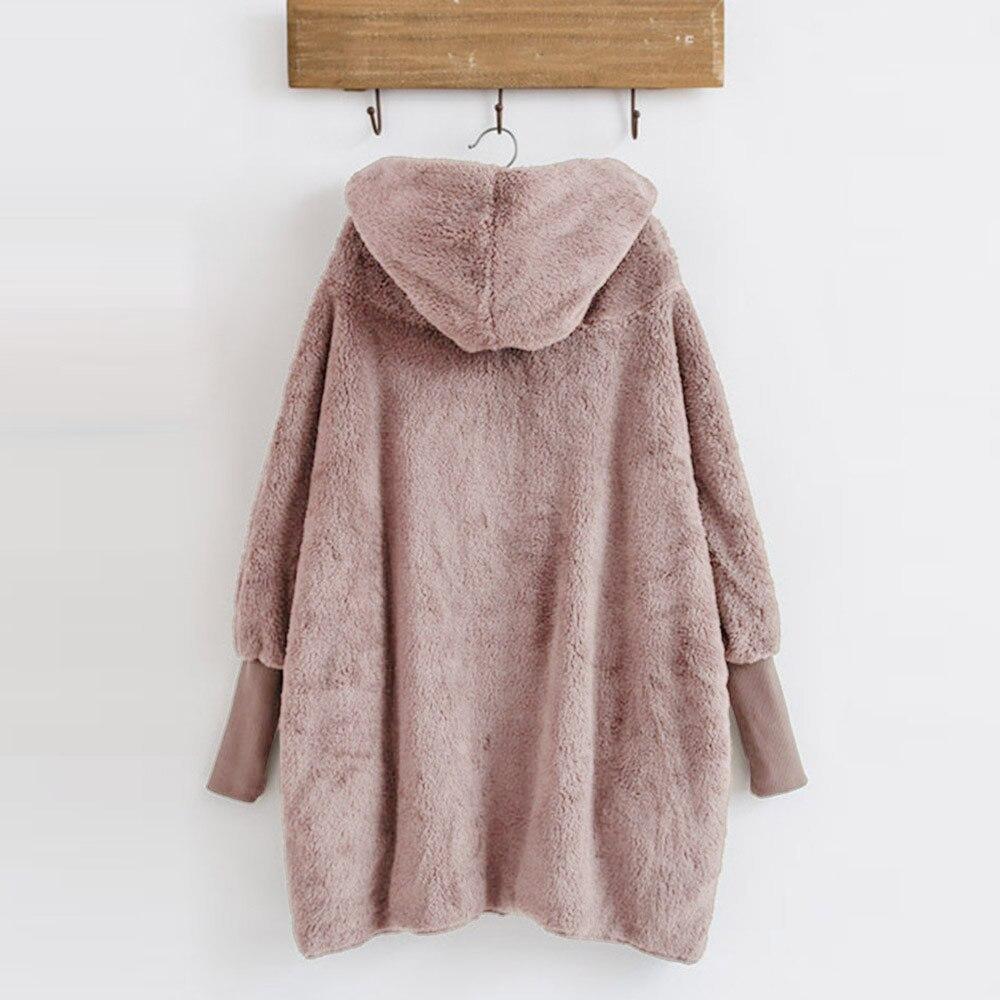 Women Hooded Coat Winter Warm Plush Pockets Cotton Coat Outwear Casual Hoodies Jacket Overcoat Top female outerwear 12