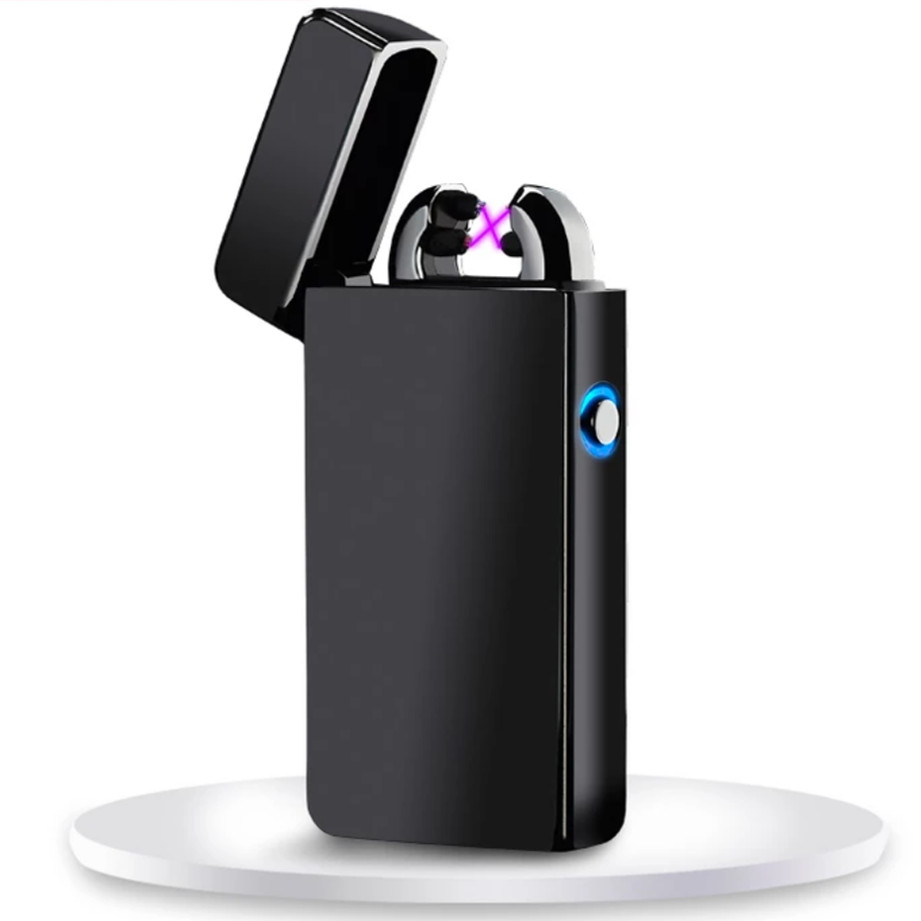 ice mirror Inovation Double arc Lighter Windproof Electronic USB Recharge Lighter Cigarette Smoking Electric Lighter