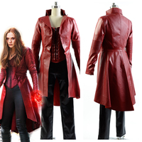 Full Set Captain America 3 Civil War Cosplay Costumes Wanda Maximoff Scarlet Witch cosplay costume Fancy Leather suit costume