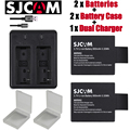 2 unids SJCAM sj8000 baterías 2 unids baterías Case + USB de doble cargador para SJCAM sj4000 sj5000 sj6000 sj7000 sj8000 WIFI de la cámara M10