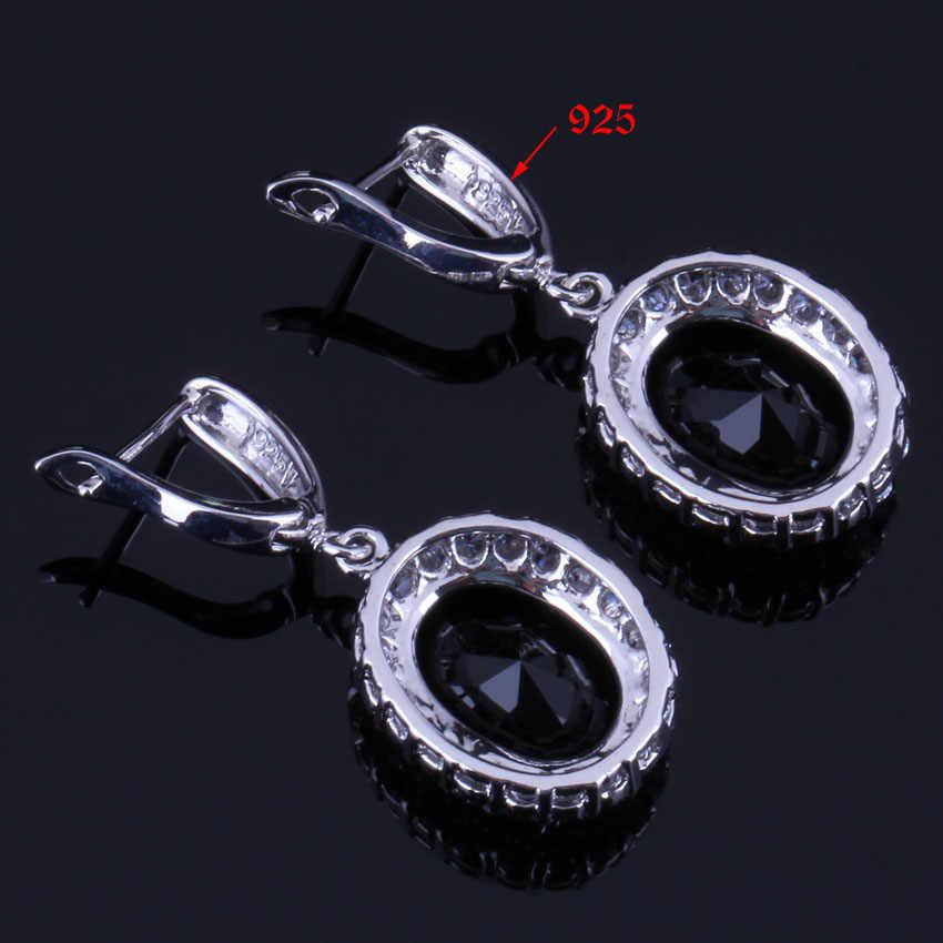 Amazing ไข่รูปไข่สีดำ Cubic Zirconia สีขาว CZ 925 เงินสเตอร์ลิงชุดเครื่องประดับสำหรับต่างหูแหวนจี้แหวน V0283